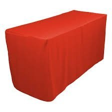 5-Feet Fitted Red Rectangle Polyester Tablecloth For Wedding Party & Restaurants 10 pack