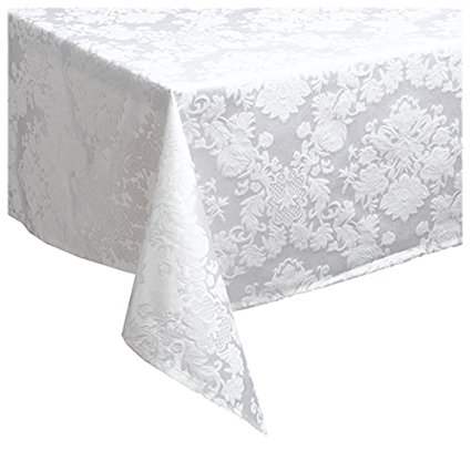 Waterford Table Wiltshire 74 by 84-Inch Oblong Table Cloth, Pearl