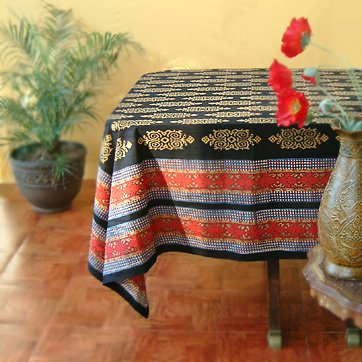 Kilim Noir ~ Designer Black Gold Banquet Party Tablecloth 70x120