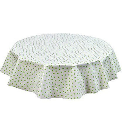 Round Freckled Sage Oilcloth Tablecloth in Dot Lime - You Pick the Size!