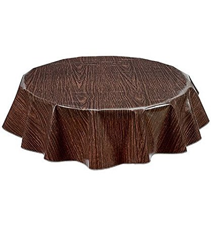 Round Freckled Sage Oilcloth Tablecloth in Faux Bois Walnut - You Pick the Size!