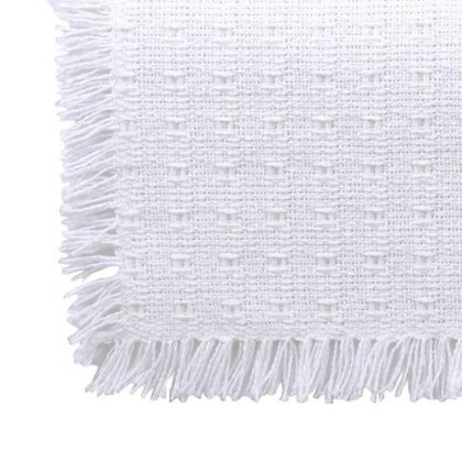 70 x 120 (Rectangle) Homespun Tablecloth, Hand Loomed, 100% Cotton, Made in USA, Solid White