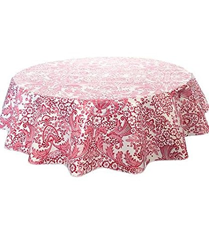 Round Freckled Sage Oilcloth Tablecloth in Toile Red - You Pick the Size!