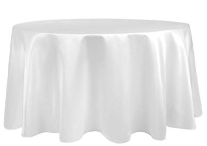 Ultimate Textile (10 Pack) Satin 120-Inch Round Tablecloth – for Wedding, Special Event or Banquet use, White Review