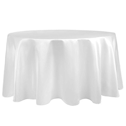 Ultimate Textile (10 Pack) Satin 120-Inch Round Tablecloth - for Wedding, Special Event or Banquet use, White