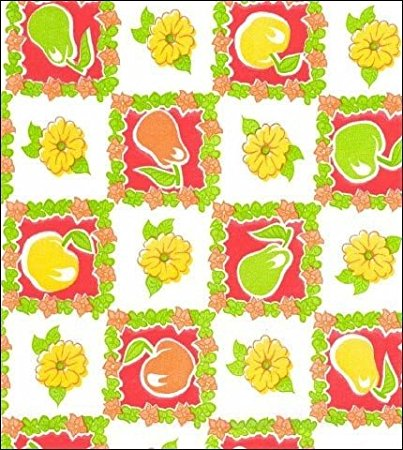 Round Freckled Sage Oilcloth Tablecloth in Apples and Pears Red - 120