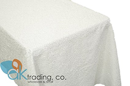 AK-Trading WHITE Sequin Rectangular Tablecloth, Rain Drops Sequin Taffeta Fabric Sequin Table Cover- WHITE