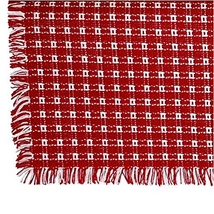 70 x 120 (Rectangle) Homespun Tablecloth, Hand Loomed, 100% Cotton, Made in USA, Red/White