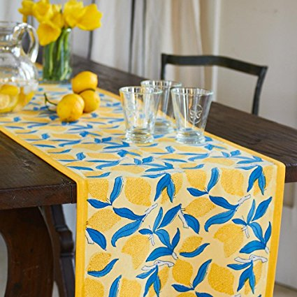 Couleur Nature Lemon Tree Runner, Tablecloth, 16-inches by 90-inches, Blue/Yellow