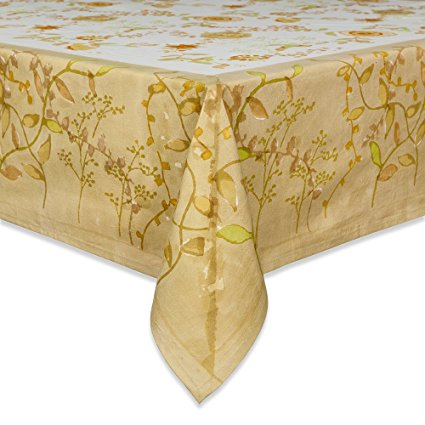 Couleur Nature 71-inches by 128-inches Treetop Tablecloth, Yellow/Green