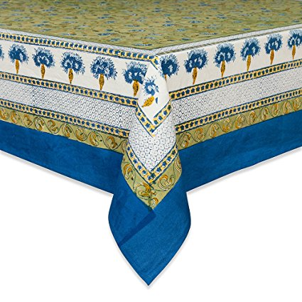 Couleur Nature Bleuet Tablecloth, 71-inches by 128-inches, Blue/Green
