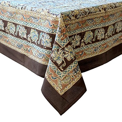 Couleur Nature Malini Tablecloth, 71-inches by 106-inches, Brown/Blue