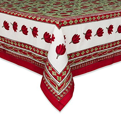 Couleur Nature Crocus Tablecloth, 90-inches by 90-inches, Red/Green