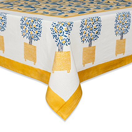 Couleur Nature Lemon Tree Tablecloth, 59-inches by 86-inches, Blue/Yellow