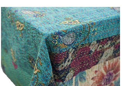 Abigails Emily Patchwork Table Cover, 60 by 90-Inch, Turquoise Review