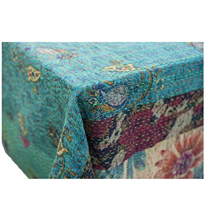 Abigails Emily Patchwork Table Cover, 60 by 90-Inch, Turquoise