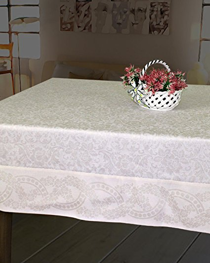 Armani International Finesse Luxury European Yarn Dyed Jacquard Tablecloths 71 x 126-inch Rectangle, 6-inch jacquard border, diagonal corners