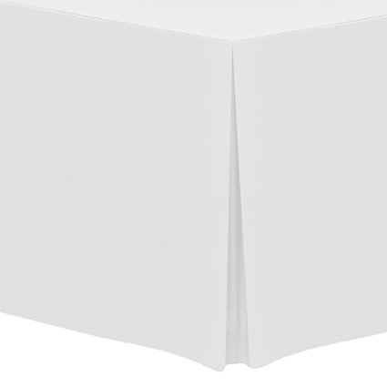 Ultimate Textile (2 Pack) 5 ft. Fitted Polyester Tablecloth - for 24 x 60-Inch Banquet and Folding Rectangular Tables, White