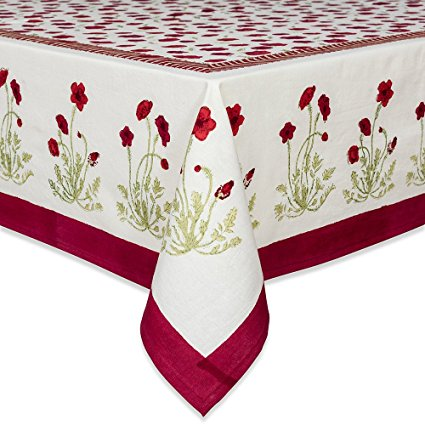 Couleur Nature Poppies Tablecloth, 71-inches by 106-inches, Red/Green