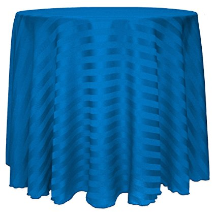 Ultimate Textile (10 Pack) Satin-Stripe 60-Inch Round Tablecloth - for Wedding and Catering, Hotel or Home Dining use, Cobalt Blue