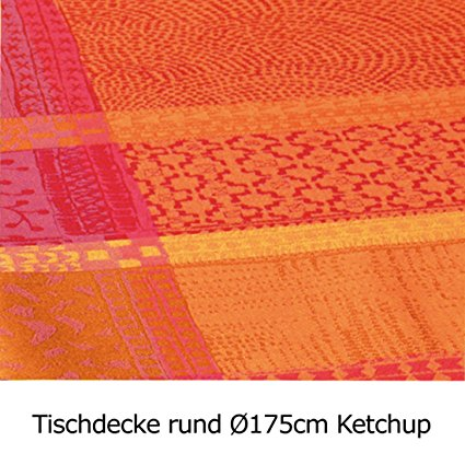 Garnier Thiebaut Coated Tablecloth Mille Wax Ketchup 69 Inch Round, 100% two-ply twisted cotton, Coated with three layers of acrylic, Made in France