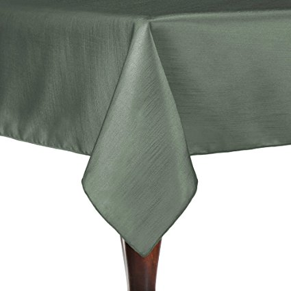 Ultimate Textile 5 Pack Reversible Shantung Satin - Majestic 90 x 90-Inch Square Tablecloth - for Weddings, Home Parties and Special Event use, Sage Green