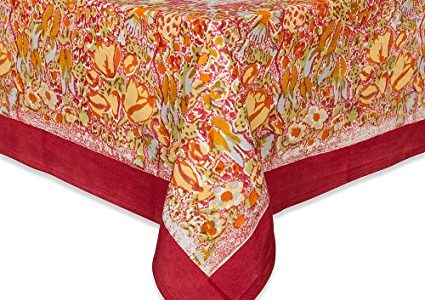 Couleur Nature Jardine Tablecloth, 59-inches by 86-inches, Red/Yellow Review