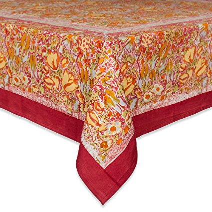 Couleur Nature Jardine Tablecloth, 59-inches by 86-inches, Red/Yellow