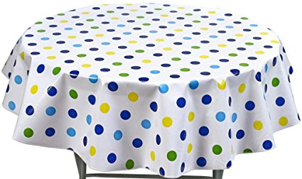 Round Freckled Sage Oilcloth Tablecloth in Big Dot Navy - You Pick the Size!