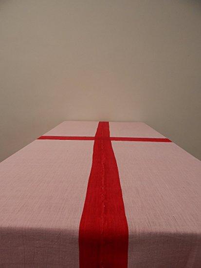 Gitika Goyal Home Cotton Khadi Red Screen Printed Tablecloth with Border Design, Pink, 72'' x 108