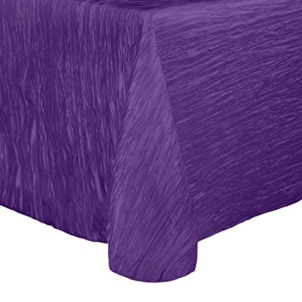 Ultimate Textile (2 Pack) Crinkle Taffeta - Delano 90 x 156-Inch Rectangular Tablecloth - for Party, Wedding, Home Dining, Hotel and Catering use, Purple
