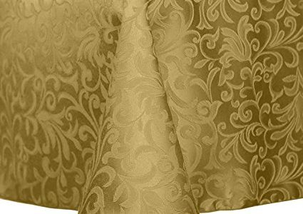 Ultimate Textile (3 Pack) Damask Somerset 60 x 84-Inch Oval Tablecloth – Home Dining Collection – Scroll Jacquard Design, Gold Review