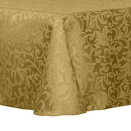 Ultimate Textile (3 Pack) Damask Somerset 60 x 84-Inch Oval Tablecloth - Home Dining Collection - Scroll Jacquard Design, Gold