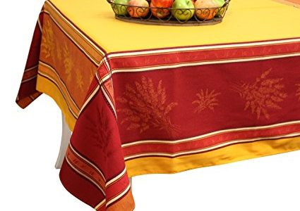 French Jacquard Tablecloth – Prestige – Saffron – 100% Cotton – 98″ X 63″ – Made in France Review