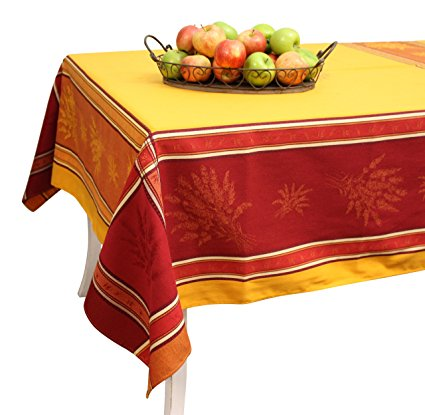 French Jacquard Tablecloth - Prestige - Saffron - 100% Cotton - 98