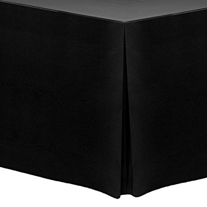 Ultimate Textile (5 Pack) 4 ft. Fitted Polyester Tablecloth - for 30 x 48-Inch Banquet and Folding Rectangular Tables, Black