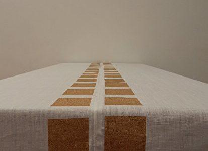 "Gitika Goyal Home Cotton Khadi Gold Screen Printed Tablecloth with Square Design, White, 60"" x 90″ Review"