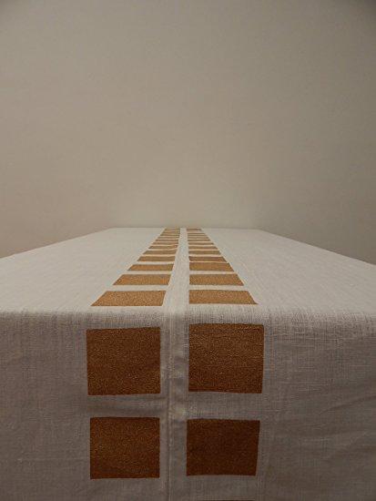 Gitika Goyal Home Cotton Khadi Gold Screen Printed Tablecloth with Square Design, White, 60'' x 90